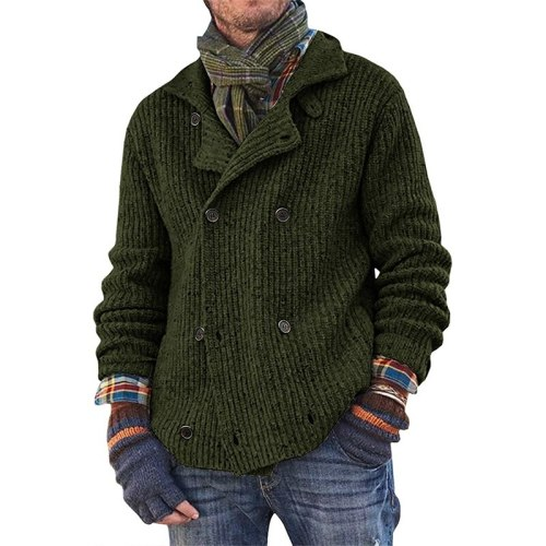 2021 European And American Fashion Autumn And Winter Plus Size Sweater Men's Solid Color Button Knit Cardigan Jacket Men's