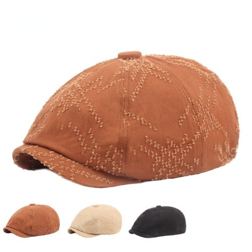 Men's Beret Distressed Hole Newsboy Hat European and American Hat Literary Youth Women's Hat Octagonal Hat