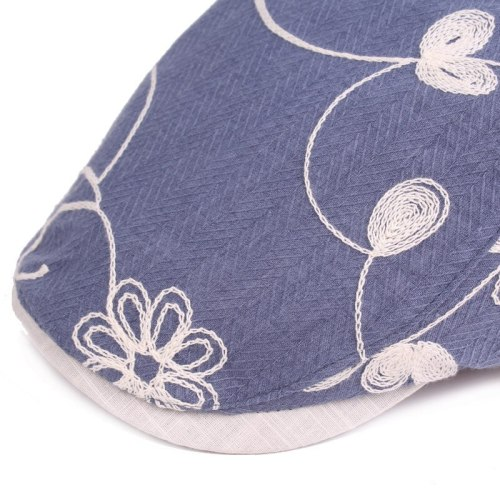 Fashion Women Cotton Embroidery Flower Beret Forward Hat Ladies Newsboy Cap Casual Flat Driving Golf Cabbie Caps for Female