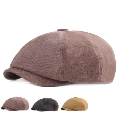 New Men's Casual Newsboy Hat Spring And Autumn Women Cotton Thin Solid Painter's Hat Gatsby Retro Driver Octagonal Hats Elastic