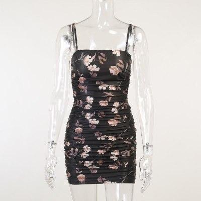 Women Floral Printted Bodycon Mini Dress Sexy Milk Silk Ruched Streetwear Fashion Vintage Y2k Elegant Backless Corset Dresses