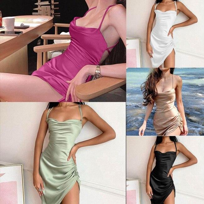 Sexy Slim Asymmetrical Dresses For Women 2021 Slash Neck Straps Summer Dress Shirring Mini Robe Femme With Backless Vestidos