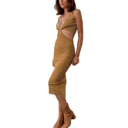 2021 New Women's Sexy Suspender Mid-length Dress Fashion Solid Color Sleeveless Hollow Knitted Skinny Dress