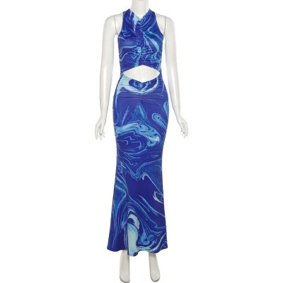 Y2K Sexy Beach Bodycon Dress Women Hollow Out Off Shoulder Backless Print Tie Dye Maxi Dresses Summer