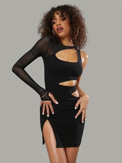 Mini dress for women summer hollow out one shoulder long sleeve black sexy side split bodycon dress streetwear