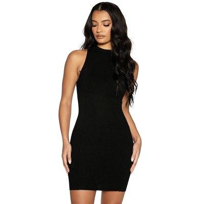 Women Summer Bodycon Ribbed Dress 2021 New Sleeveless Striped Solid Stretch Pencil Party Mini Tank Dresses Vestido