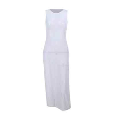 Women Sexy See-through Slit Bikini Beach Cover Up Swimsuit White Sleeveless Round Collar Long Maxi Split Dresses Mujer Beachwear