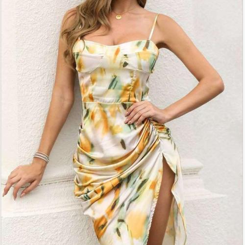 Women Summer Abstract Print Spaghetti Strap High Slit Ruched Dress Female Sexy Sleeveless Square Neck Print Wrap Dress Vestidos