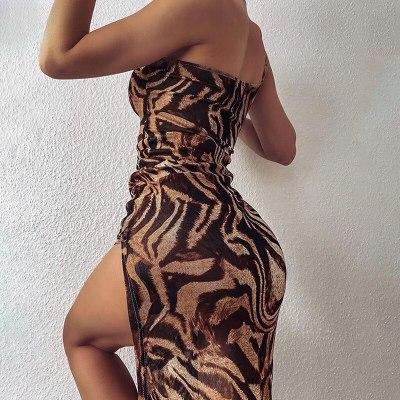 Women Leopard Print Sexy Split Dress 2021 Summer Sleeveless One Shoulder Maxi Dress Ladies Party Club Vintage Dresses Female