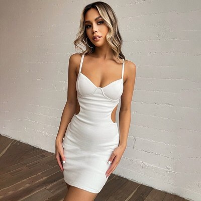 Women Sexy Sling Cutout Waist Exposed Chest Strap Dress