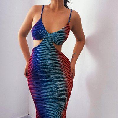 Sexy V Neck Strap Sleeveless Skinny Long Summer Dress Women 2021 Party Club Knitted Wrap Tie Dye Y2K Casual Dress