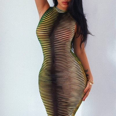 Gradual change Knitted Wrapped chest sleeveless Tight Elasticity Mini Dress y2k Sexy translucent Slim street Party Dresses woman