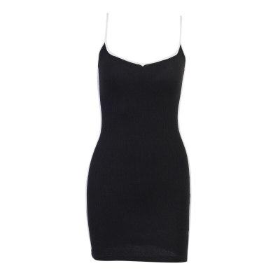 Female Patchwork Streetwear High Waist Mini Dress Black Sexy Backless Slim Bodycon Summer Harajuku Elegant Party Dress