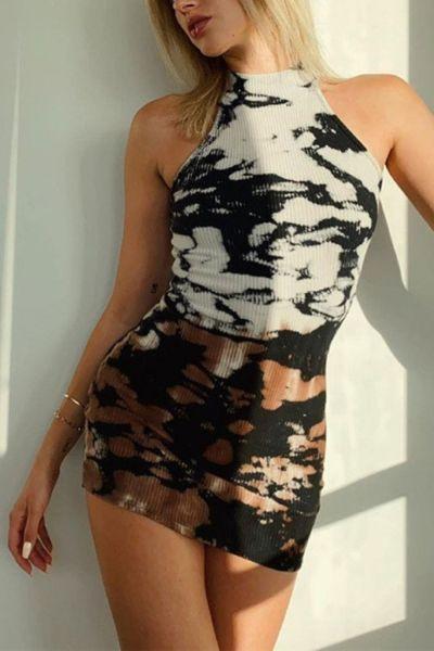 2021 Summer New Women's Round Neck Sleeveless Fashion Print Slim Fit Pack Buttocks Temperament Dress