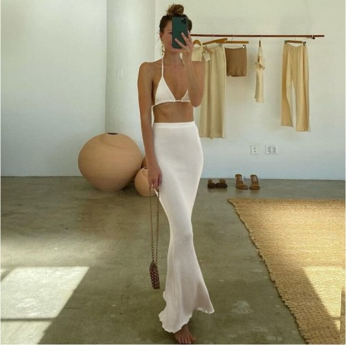 Women Beach Outlet Dress Tunic Cover Up 2021 New Two Piece Bikini +Maxi Skirt Polyester Swimsuit For Summer