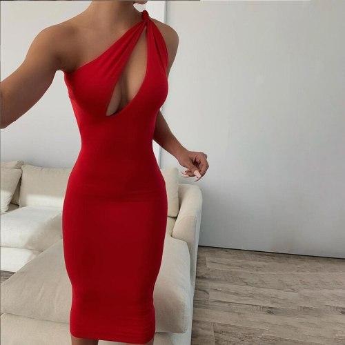Sexy Dress Fashion Oblique Shoulder Dress Party Club Bodycon Dress Woman Soild Color Elegant Dress 2021 Summer Dress