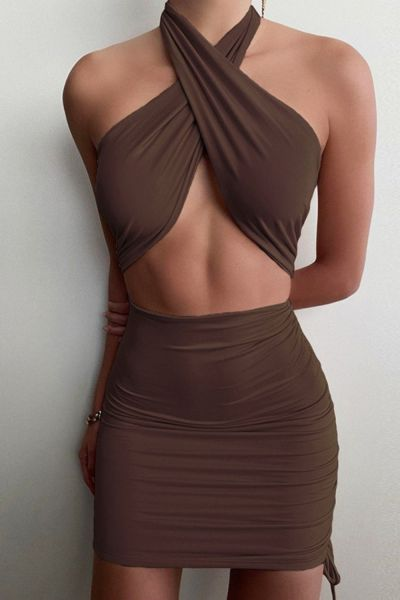 Fashion Criss Halter Cut-Out Bandage Sexy Mini Dress Bodycon Sleeveless Summer Bodycon Dresses Ruched Club Party