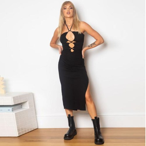 2021 sleeveless halter pleat slit backless bandage solid bow sexy dress summer women streetwear party club clothing Y2k