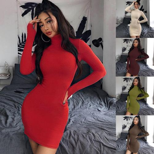 Women Winter Sweater Knitted long red Dresses Slim Elastic Turtleneck Long Sleeve Sexy Lady Bodycon Robe Dresses