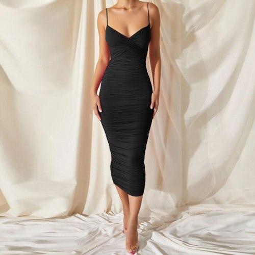 V Neck Midi Dress Evening Pary 2021 Summer Fashion Spaghetti Strap Bodycon Dresses Sexy Backless Knee Length Sundress Y2k Chic