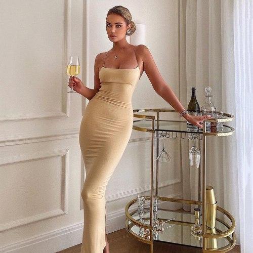 Sexy Backless Summer Dress Women 2021 Night Club Party Bodycon Vestidos Elegant Off Shoulder Split Slash Neck Maxi Dresses