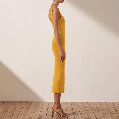 Sexy Square Collar Spagheti Strap Sleeveless Slit Ladies Fashion Dress Bodycon Mid-calf Dress Slim Party Girl Vestidos