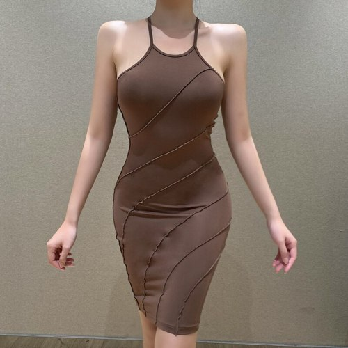 Women Dress Neck-Hanging Blue Dye Solid Hollow Out Ring Sleeveless Wrapped Party Slimming Midi