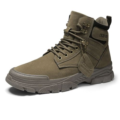 Men's Leather Boots Autumn Winter British Breathable Working Boots Clothes Leather Boots High Top Retro Trendy Shoes