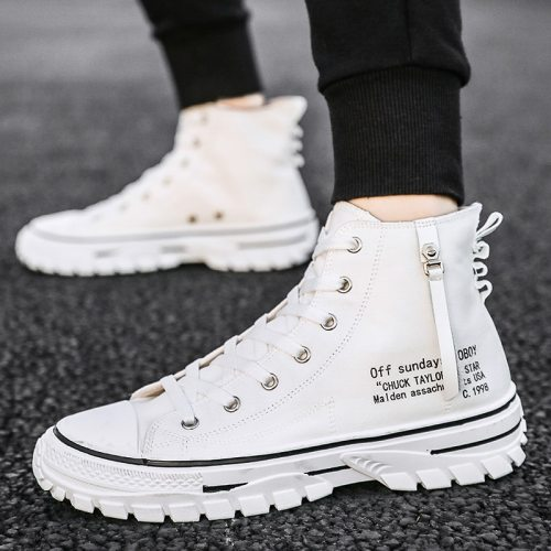 Mens Shoes Casual Men High-top Shoes Fashion Lace-up Breathable Canvas Sneakers Men Trainers Comfortable chaussure homme