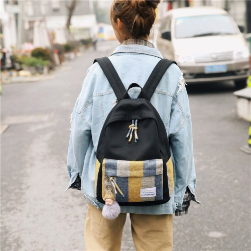 Fashion Canvas School bags Casual College Bookbag Female Retro Stylish Daily Travel Backbag Mochila Mujer