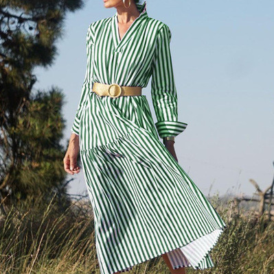 2021 Women Casual Blue Striped Sashes Dress Lady Long Sleeve Turn-Down Collar A-line Dress Vintage Elegant Autumn Women Dresses