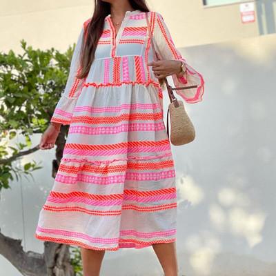 Plus Size Women's V-Neck Striped Print Dress Casual Flare Sleeve Midi Dress Female Boho Leisure A-Line Party Sundresses Vestidos