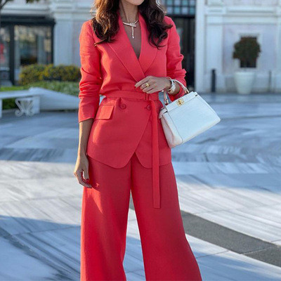 Spring Autumn Women Solid Long Sleeve Blazer Casual Pants Office Lady Elegant Lace-up Red Jumpsuit OL Business Outfits