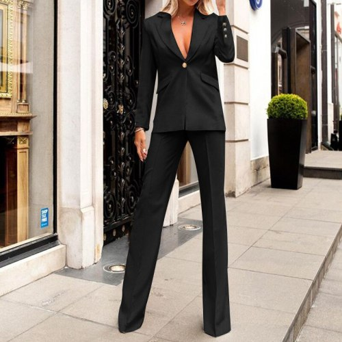 2021 New European And American Autumn Fashion Temperament Commute Solid Color Long Sleeve Trousers Two Pieces Set