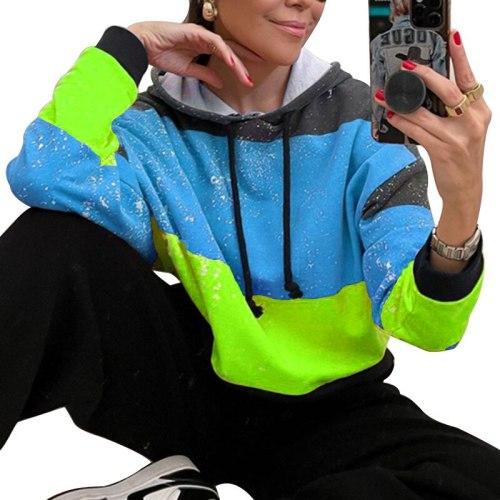 Fashion Patchwork Hooded Sweatshirts Women Neon Green Loose Long Sleeve Pullovers Harajuku Autumn Thin Sweatshirts Tops 2021