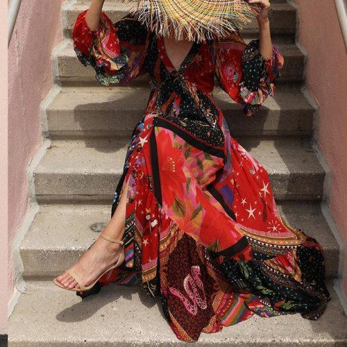 2021 Women Pleated Bohemian Beach Design Dress Casual Long Sleeve V-neck Chiffon Dress Autumn Female Print Long Dress Streetwear
