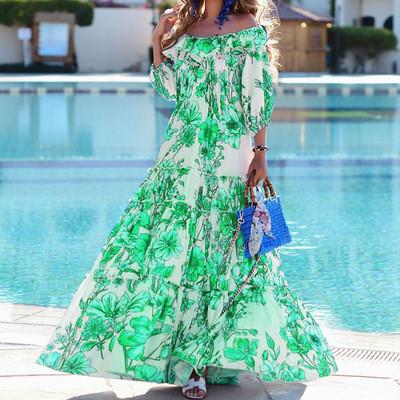 Bohemian Women's Long Dresses Blue Green Maxi Vacation Dresses