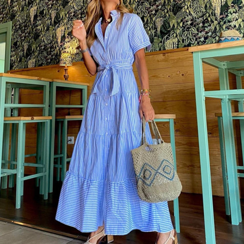 2021 New Short sleeve maxi dresses vacation office lady strip dresses
