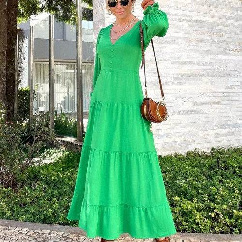 2021 New European And American Autumn Fashion Sexy Nightclub Solid Color Multi-Color V-Neck Long Sleeve Long Dress