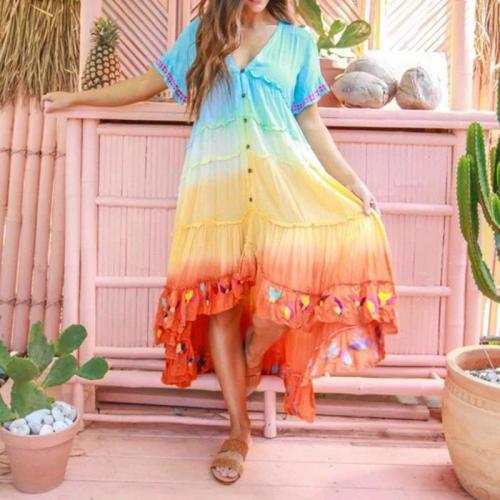 Elagant Party Maxi Long Dress Women Printed Large Hem Midi Casual Embroidery Gradient Boho Bridesmaids Robe