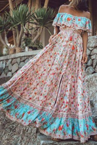 Floral Print Maxi Dresses Women's Vintage Elegant Beach Sash Sexy Off Shoulder Tunic Long Summer Boho Dress Women Vestidos