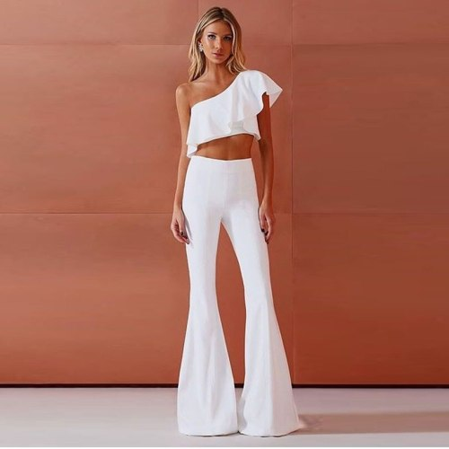 Two Piece Set Women Short Tops and High Waist Pants Female Short Sleeve Pullover Casual Flare Trousers White Pant Set