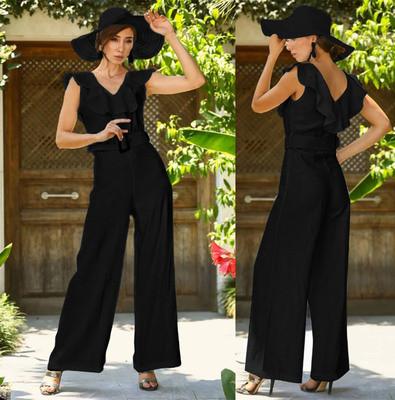 2021 V Neck Black Jumpsuit Elegant Lady Jumpsuit