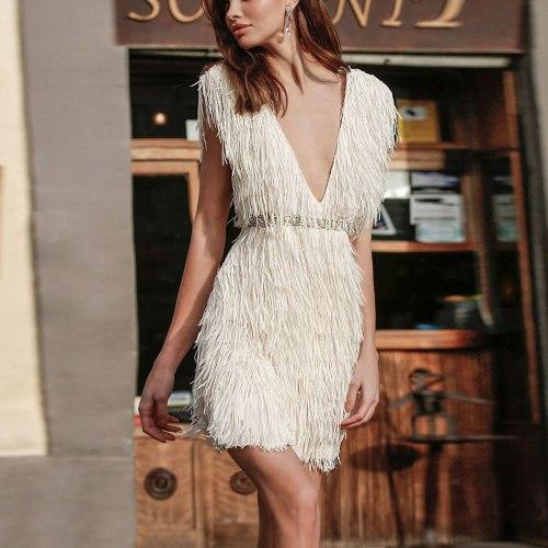 White Fringe Celebrity Evening Runway Party Dress Women Sexy Tassels Short Sleeve Club Dress Vestidos