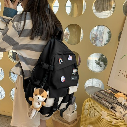 New Waterproof Nylon Women Backpack Female Multi-pocket Contrast Color Travel Bag Teenage Girl's Kawaii Schoolbag Mochila
