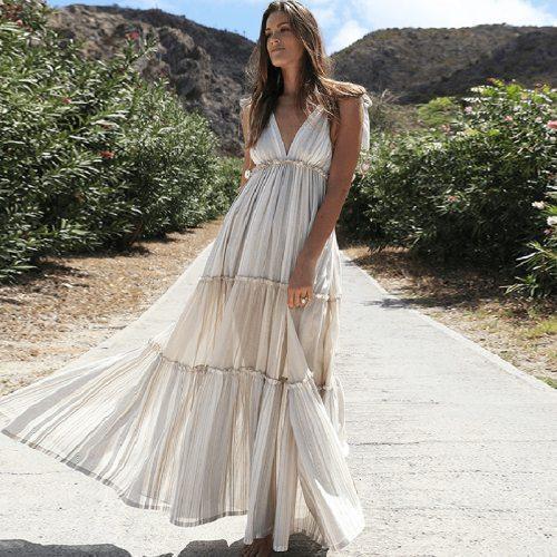 Women Summer Maxi Long Dress Fashion Stripe Deep V Neck Ruffles Solid Sleeveless Party Casual Sarafans Vestidos