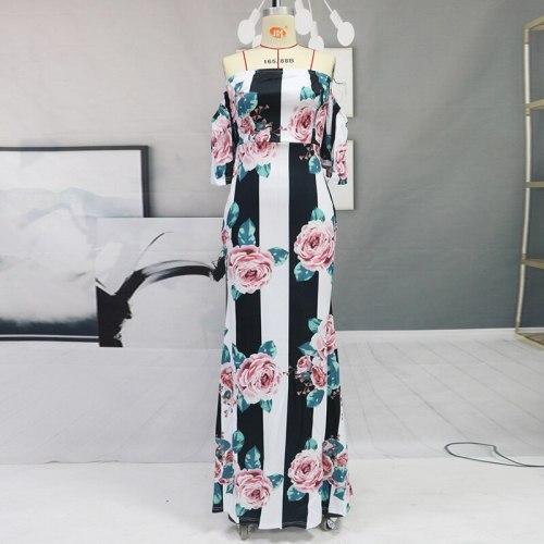 Women Summer Sundress Long Party Dress Celmia Sexy Off Shoulder Print Long Maxi Dresses Vestidos Robe Femme Slim Dress Women