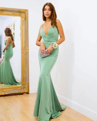 2021New In Women's Evening Dress Green Blue Maxi Elegant Dresses