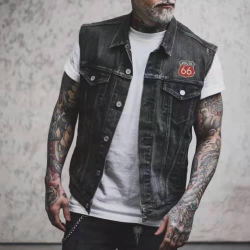2021 New Men's Denim Vest Short Jacket For Man Clothes Number Letter Print Fashion Waistcoat Male Casual Coats Waistcoat Men Top