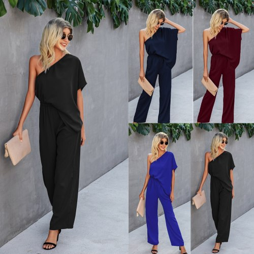 Women Jumpsuits Sexy Off-shoulder Office Lady Overalls Streetwear Combinaison Femme Jumpsuit Female 2021 Summer Fashion Clothing